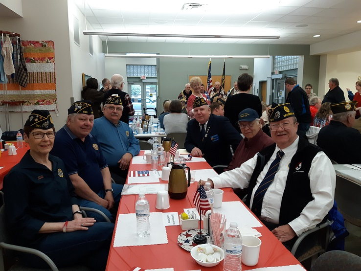 Legionnaires attending the Quilts of Valor Presentation:  Chris Robbins, Jerry Schultz, Keith Lovell, Cdr Thomas Stolarczyk, John Scott, Bill Robbins