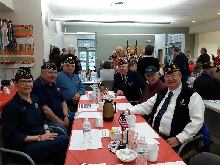 Legionnaires attending the Quilts of Valor Presentation:  Chris Robbins, Jerry Schultz, Keith Lovell, Cdr Thomas Stolarczyk, John Scott, Bill Robbins