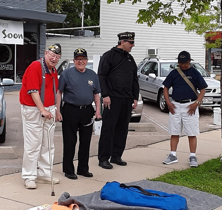 Post 501's Memorial Day participants, Bud, Don, Brad, and Romeo, prepping for the Monona's Memorial Day Parade, 5/27/2019.