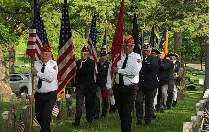 Forrest Hill Cemetery on Memorial Day, 5-27-2019.  Participating are Legionnaires from Post 501 and Auxiliary Unit 501.