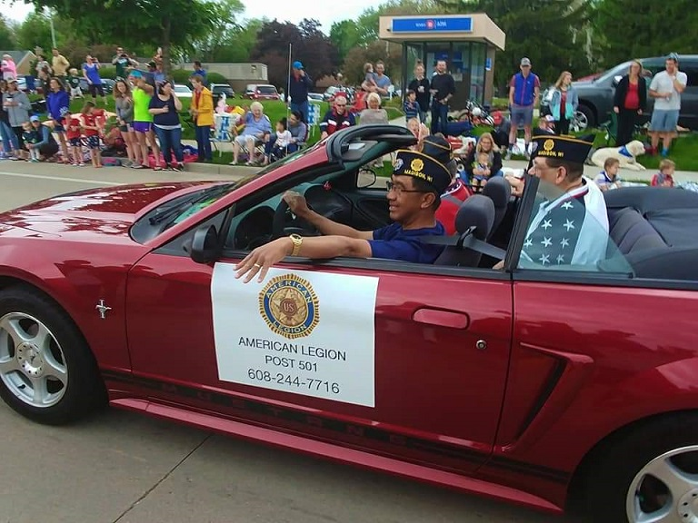 Romeo volunteered the use of his convertible in support of Post 501's participation in Monona's Memorial Day Parade, 5-27-2019.