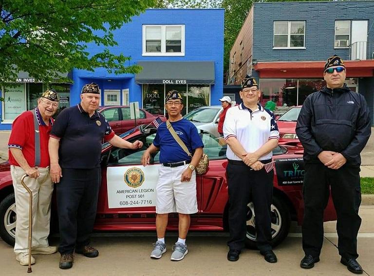 Legion Post 501's Legionnaires, Bud, Cdr Tom, Romeo, Benito & Brad, participated in Monona's Memorial Day Parade, 5-27-2019.