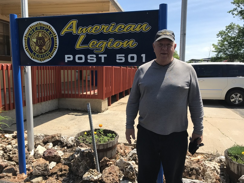 Cdr. Tom Stolarczyk standing proud by the newly updated Post 501 sign (6-5-2019)