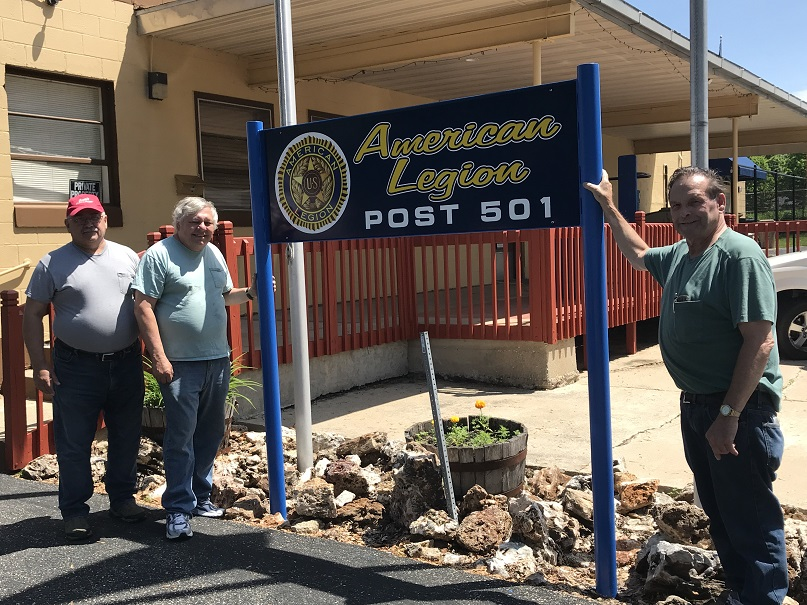 Post 501 Legionnaires, Keith, Jerry, and Rich, installed the updated Post 501 sign on 6-5-2019.