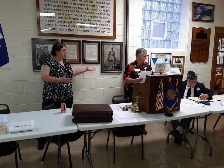 Unit 501 President, Rebecca Lovell, introduced the Installing Officer, Third District President, Jenni Syftestad, on 6-12-2019.