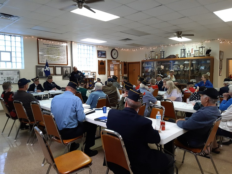 Post 501 and Unit 501 members in attendance for Madison Police Officer Payne's presentation on 6-12-2019.