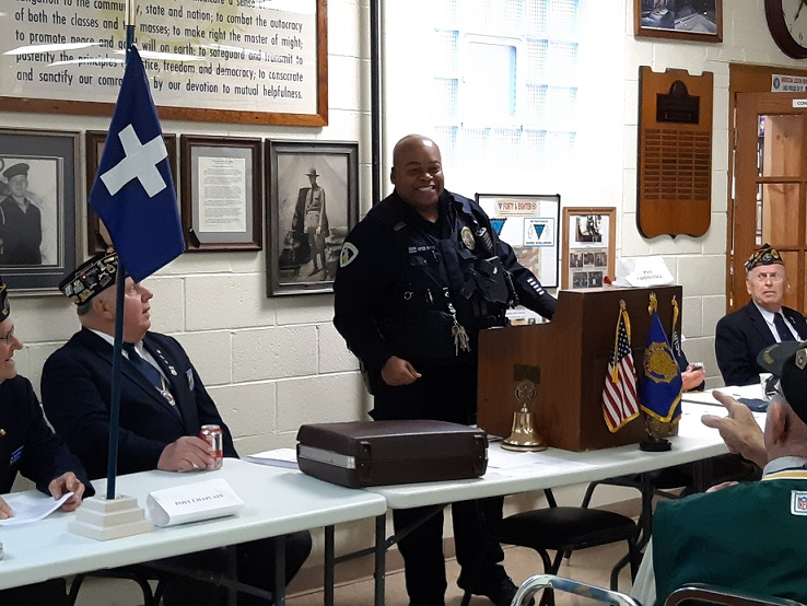 Guest Speaker, Madison Police Officer Payne at Post 501's Member meeting on 6-12-2019.