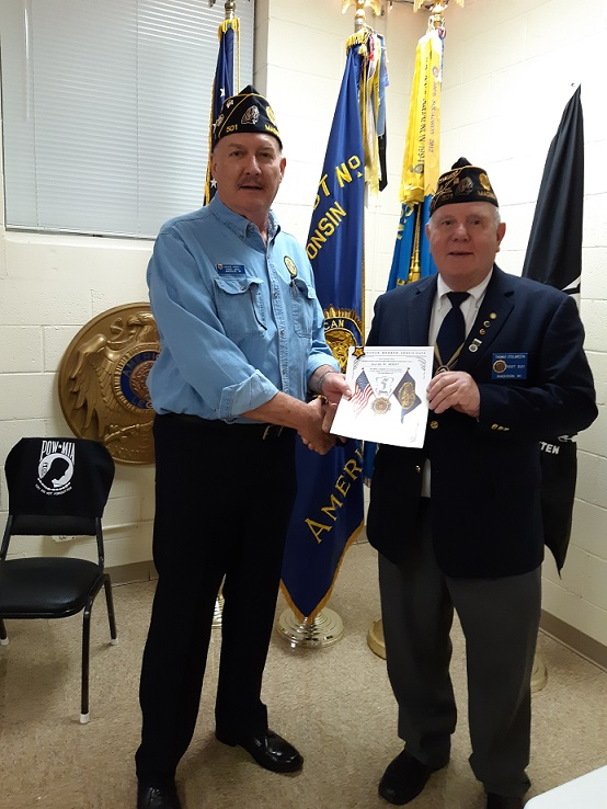 Cdr. Thomas Stolarczyk presented Legionnaire David Hoeft with a 5 year Continuous Member Certificate on 6-12-2019.