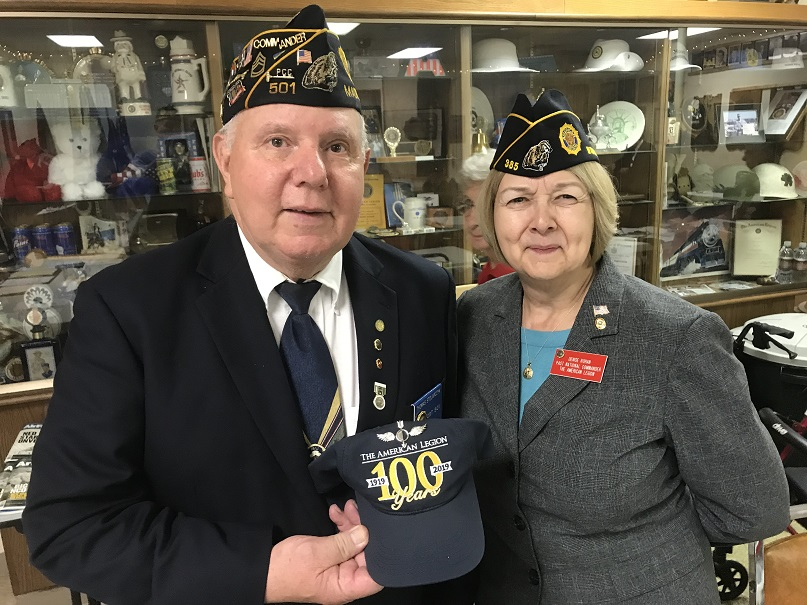 Post Cdr Thomas Stolarczyk with Past National Cdr Denise Rohan promoting Legion 100 years.