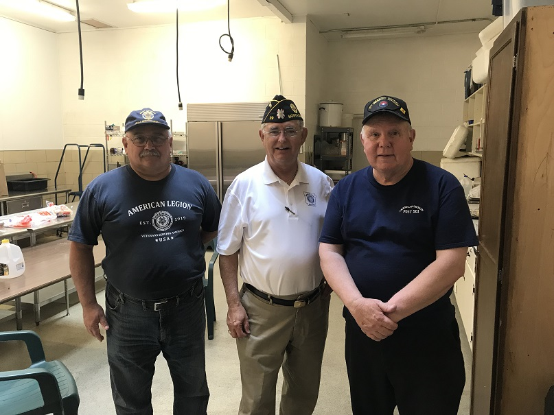 3rd District Cdr Keith Lovell, Bill Oxford, Post 501 Cdr Thomas Stolarczyk at Post 501 building on visit.