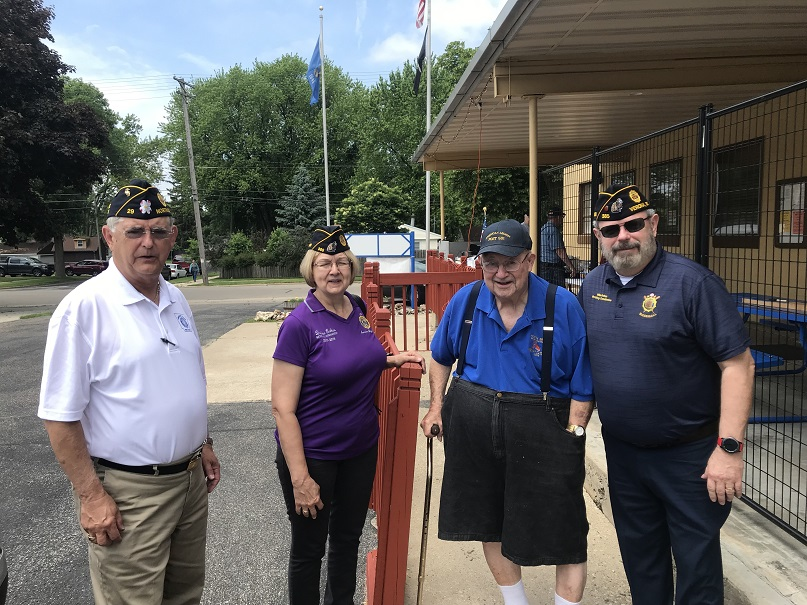 Bill Oxford leading candidate for National Commander American Legion, past National Cdr Denise Rohan, Past State Commander Bud Mautz, Legionnaire Mike Rohan.