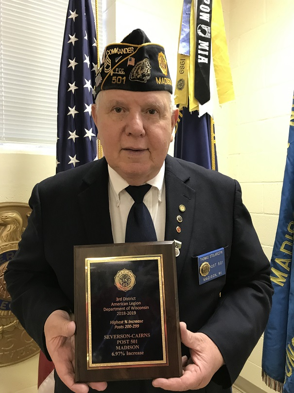 Post Cdr Stolarczyk with award for 6.9 percent increase in membership from 3rd District (June 2019)
