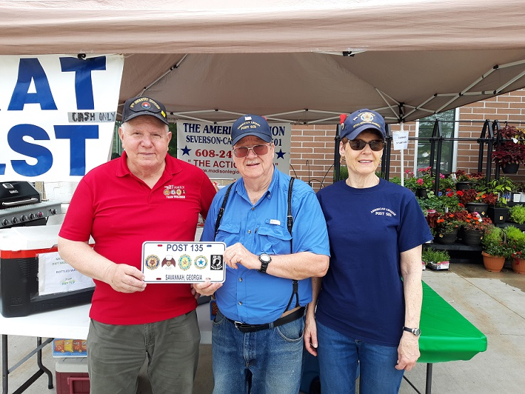 As a result of travels, Legionnaires Chris & Bill presenting Cdr Tom with Savannah, GA, Legion Post 135's license plate - 6/30/2019