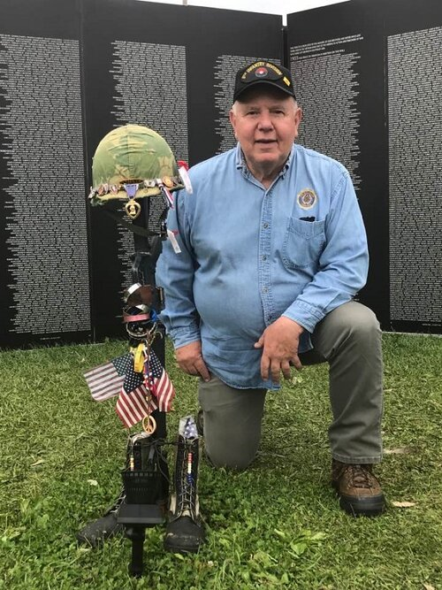 Post 501 Cdr. Thomas Stolarczyk visiting the  American Vietnam Traveling Tribute Wall at the Celebration of Freedom at Portage, WI, on  9/6/2019.
