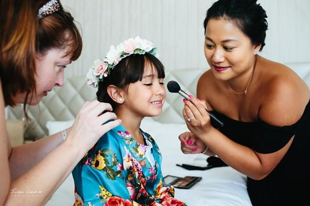 Flower girls get some love, too! (Blush & light pink lip gloss, that is!)