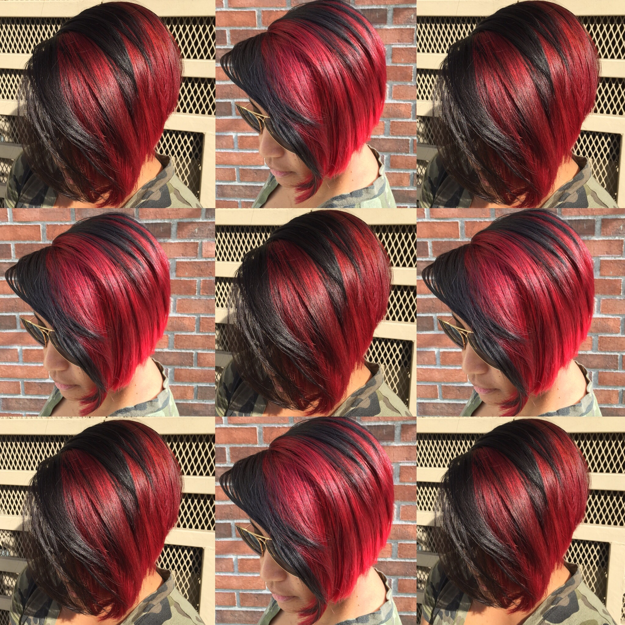 NYE Cut & Color! A great option for tonight when you have short hair... Get body, bold, and bright with your hair.  Have longevity with your cut and color for 2016....  #haircut : A Short Graduated Bob is a long lasting stylish haircut that maintains body and can be grown out to a Long Graduated Bob. #shorthair #shorthairdontcare #stylish #haircut   #haircolor : My favorite high lift reds hair color that are bold and bright, using Raspberry Red without bleaching is from @schwarzkopfusa L-89 #raspberry #red #hair #haircolorist #colorist #schwarzkopf #sherryyoungestyle