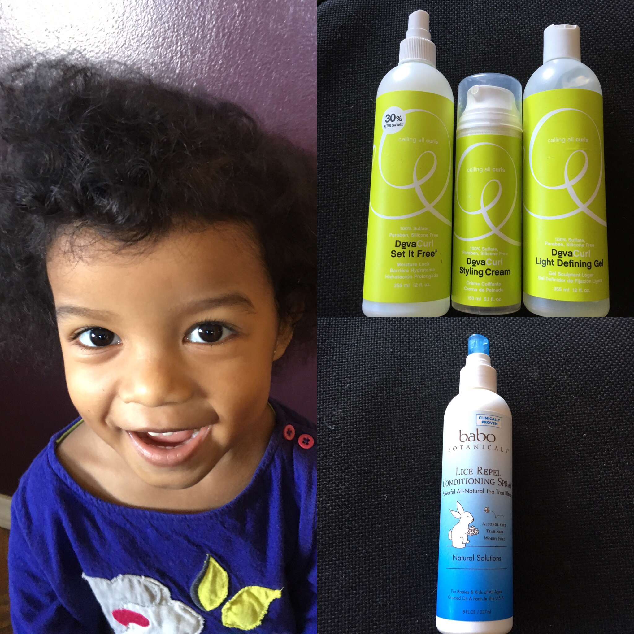 Back to school morning curly hair challenges. Use Deva curl hair care and Babo Botanicals Tea Tree Lice Repel conditioning spray for moisture, hold, and lice prevention.