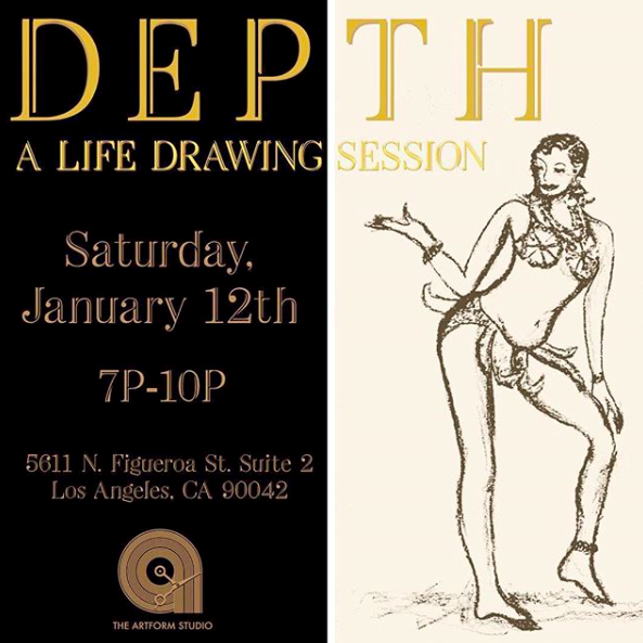 - Kicking off the New Year with our Community Outreach events back in full effect! First starting off with our monthly DEPTH: A Life Drawing Session hosted by Jazmin Hicks.