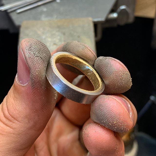 Bi-colour wedding band in progress. Platinum on the outside with 18ct yellow on the inside  #wedding #weddingband #weddingring #twotone #bicolour #bicolourweddingring #18ctgold #platinum #handmadejewellery #customejewellery #bespokejewellery #mensjewellery #mensfashion #mensstyle #fashion #style #love #gettingmarried #married #engaged #engagement #swindon #wiltshire