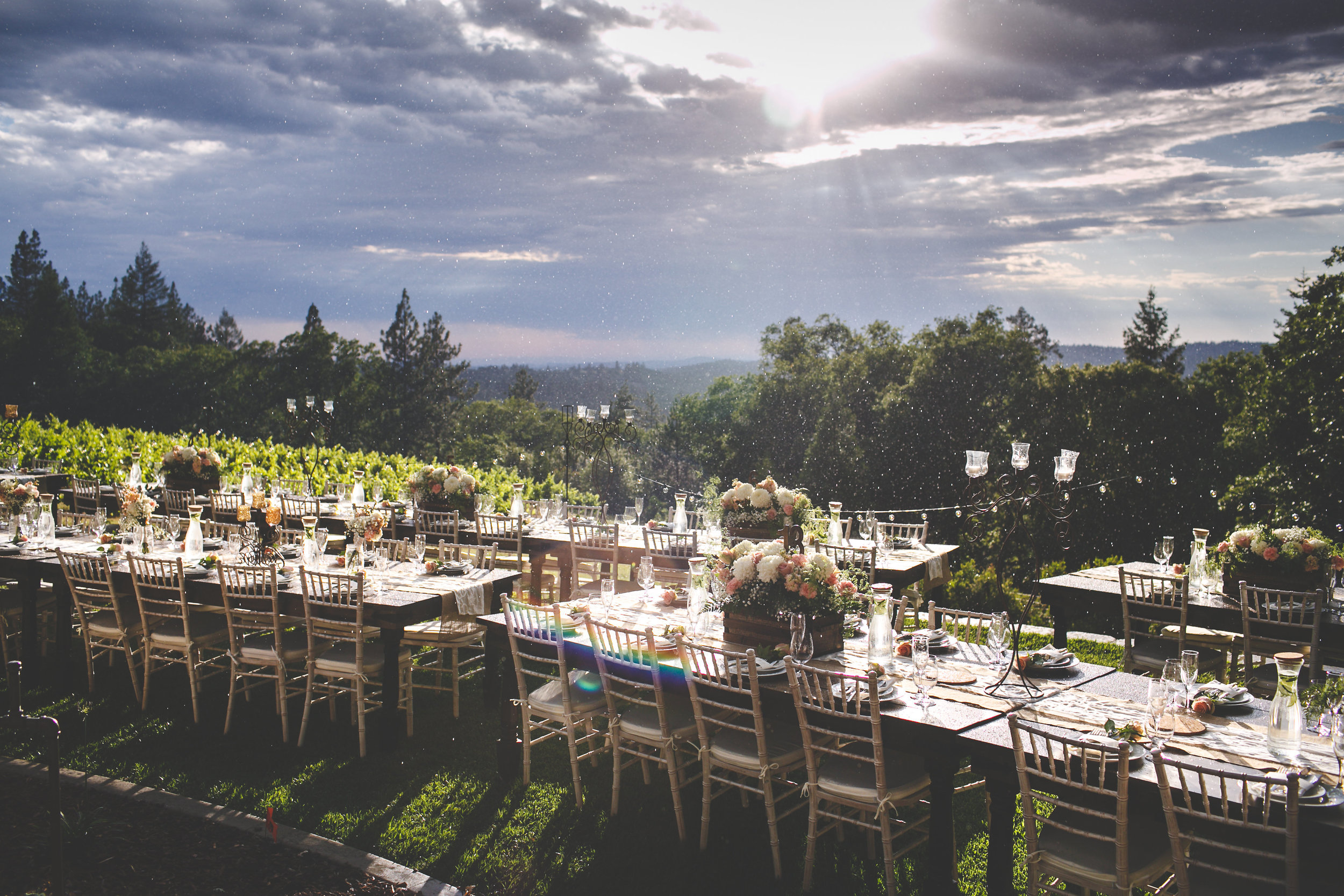 The table is set, we wait for family, friends and loved ones...rain and shine.