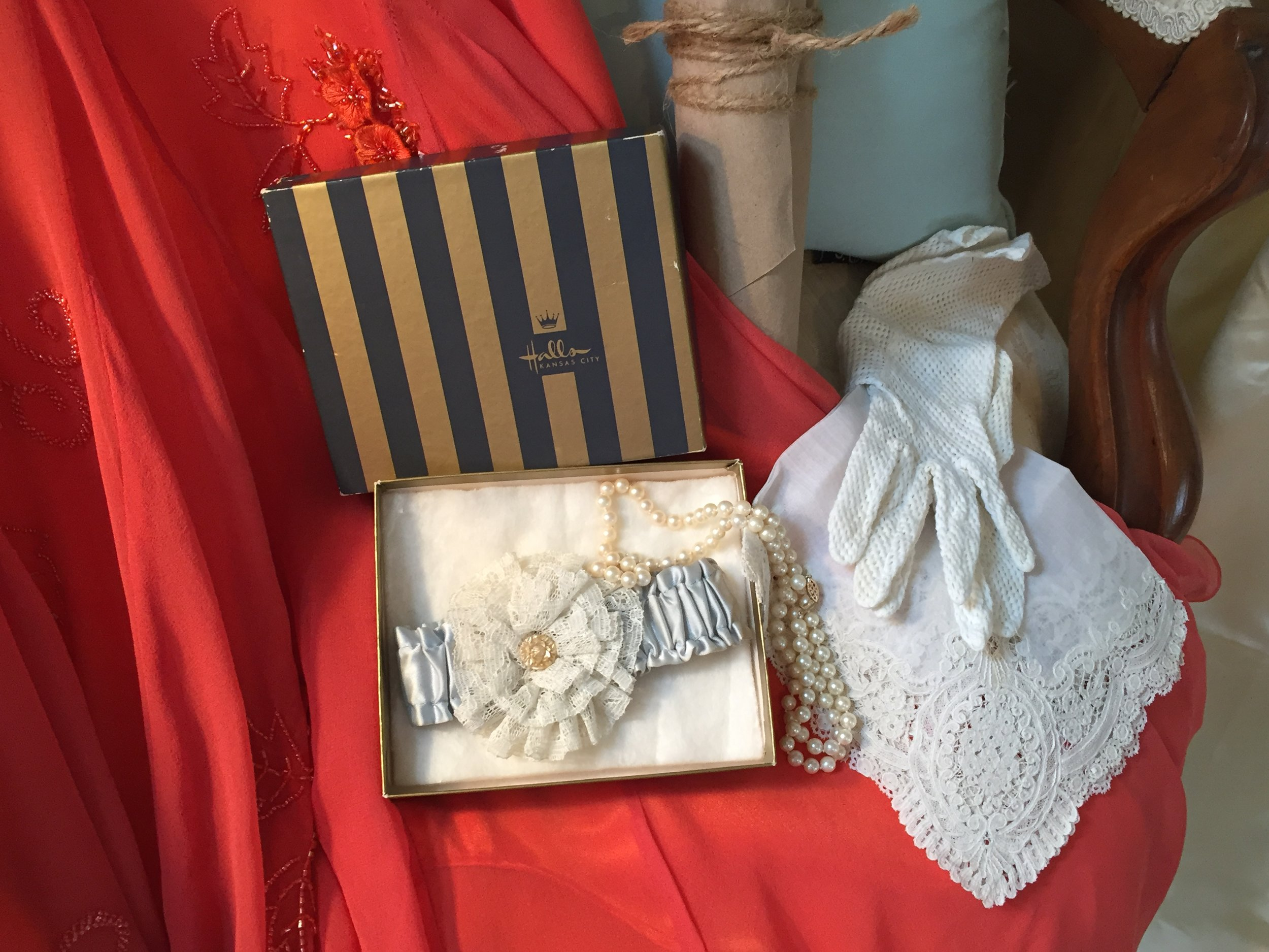 The family heirlooms_ Mother's pearls, grandmother's garter and Great Grandmother's hand tatted lace handkerchief.JPG