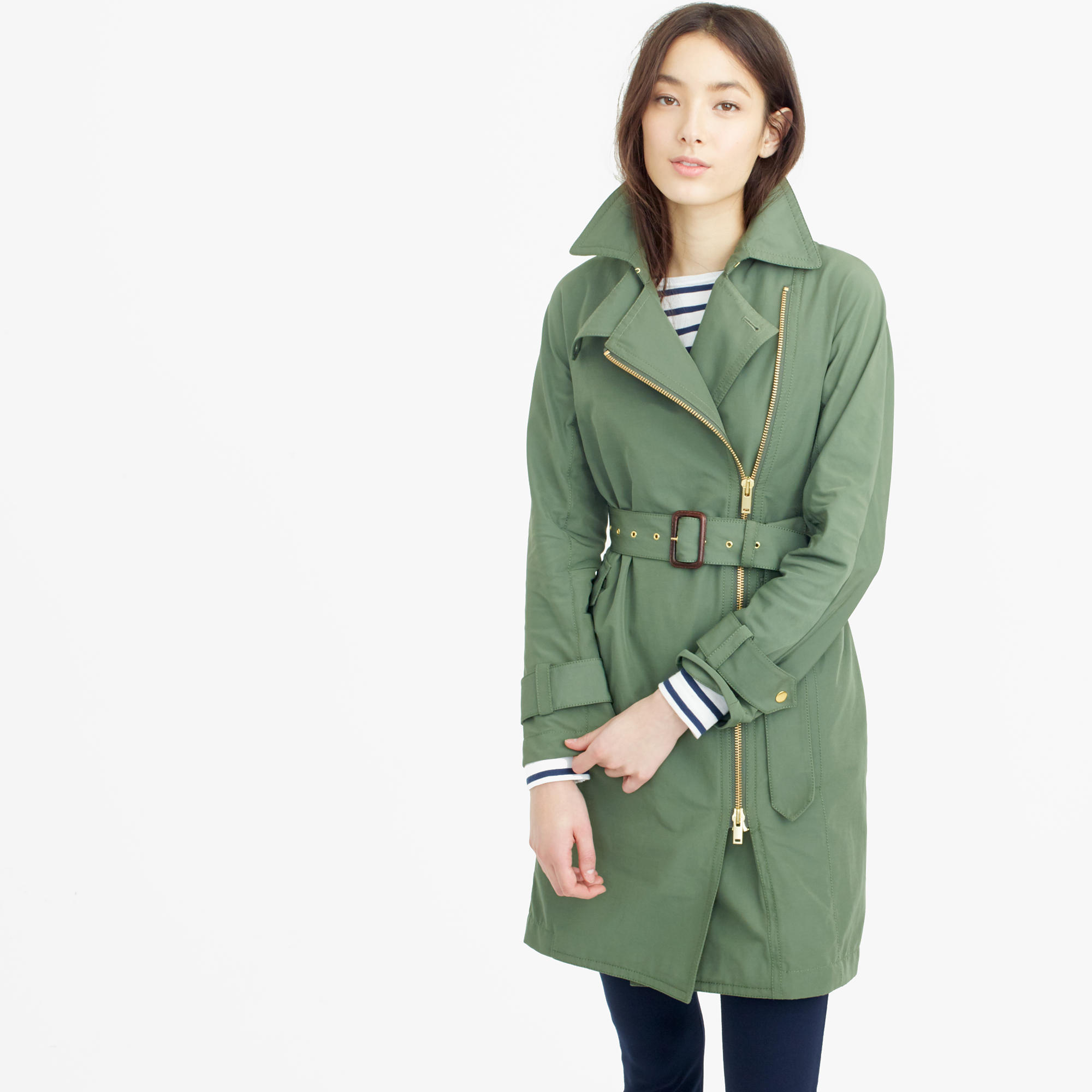 Belted Zip Trench Coat in Water Resistant Cotton  available at J.Crew- on sale for $159.99