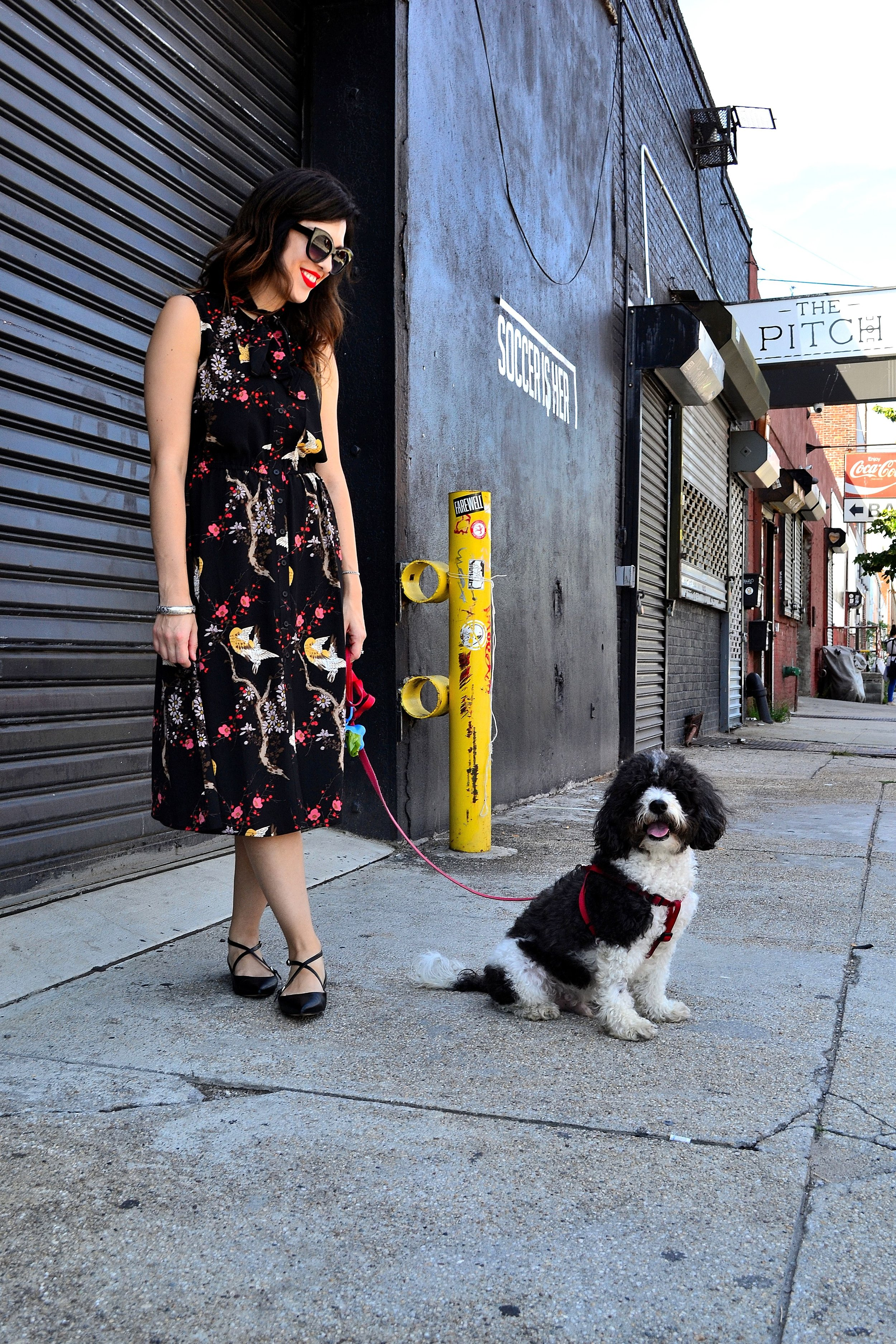 dress- Highline Collective /  flats- Nine West /  sunglasses- Urban Outfitters / bangle- gift/  red lipstick- Sephora Cream Lip Stain in Always Red