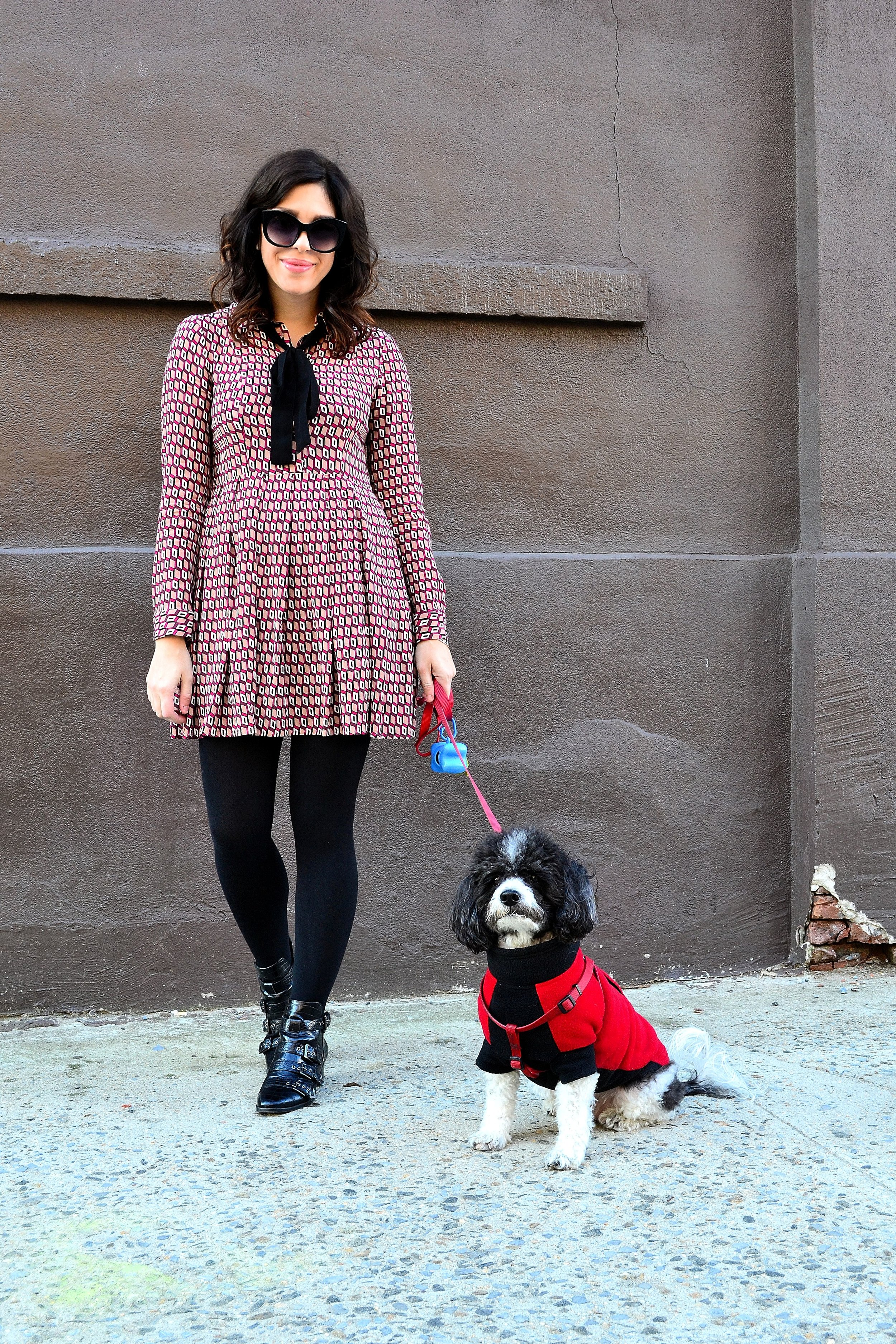 dress: Zara/  fleece lined tights: LOFT / booties: Design Lab from Lord & Taylor/ sunglasses: Urban Outfitters