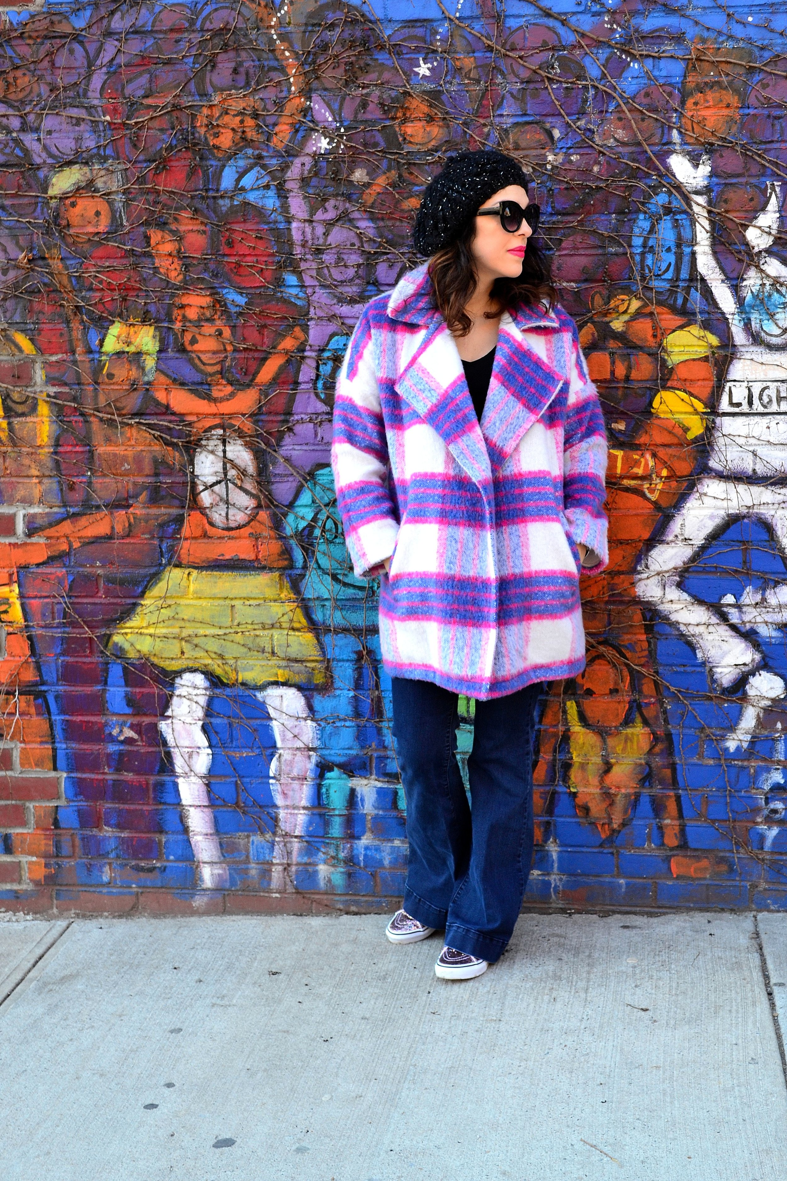 plaid coat- She + Sky,  sparkle high top sneakers- Vans ,  tee- H&M , jeans- Highline Collective, hat and sunglasses- Urban Outfitters