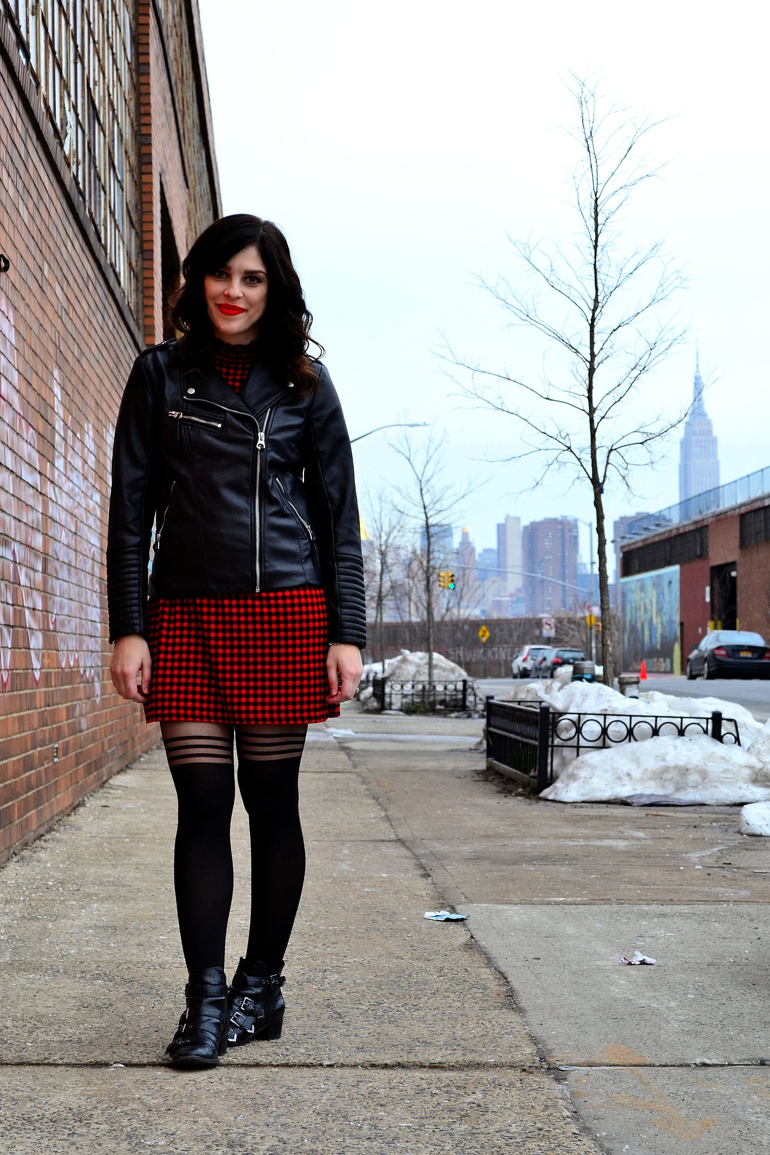 faux leather jacket: H&M, plaid dress: Zara, tights: ASOS, booties: Design Lab from Lord & Taylor