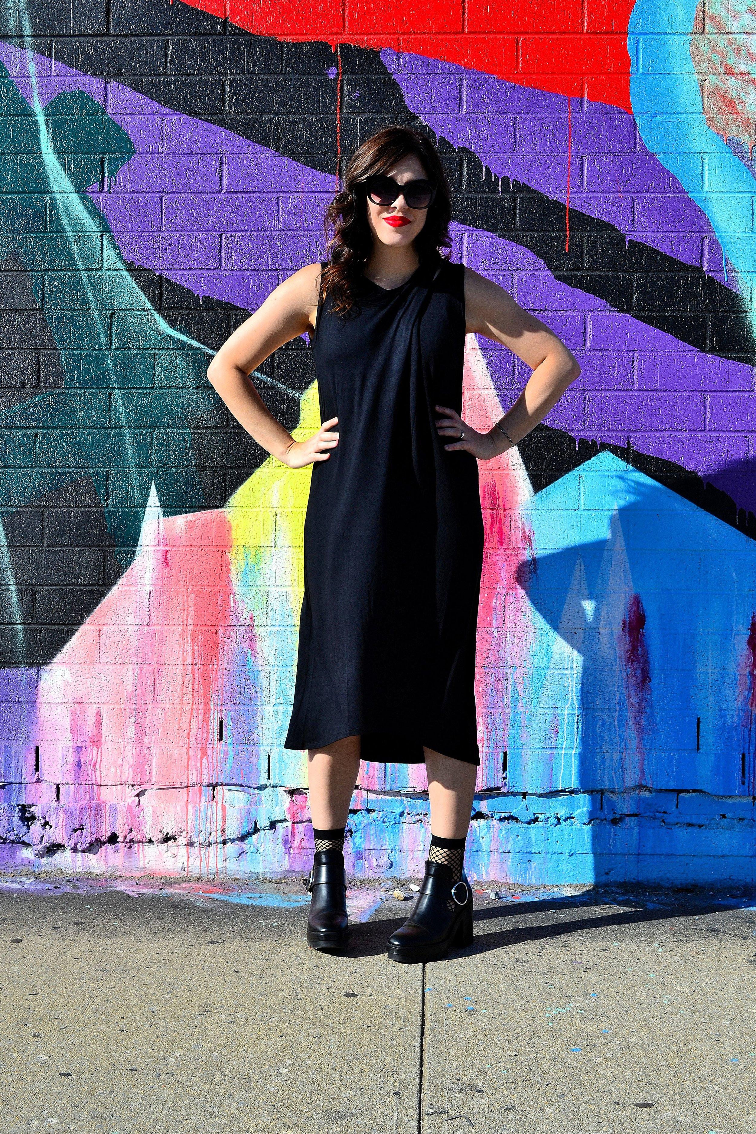 Bar III dress ASOS fishnet socks Zara booties3.JPG