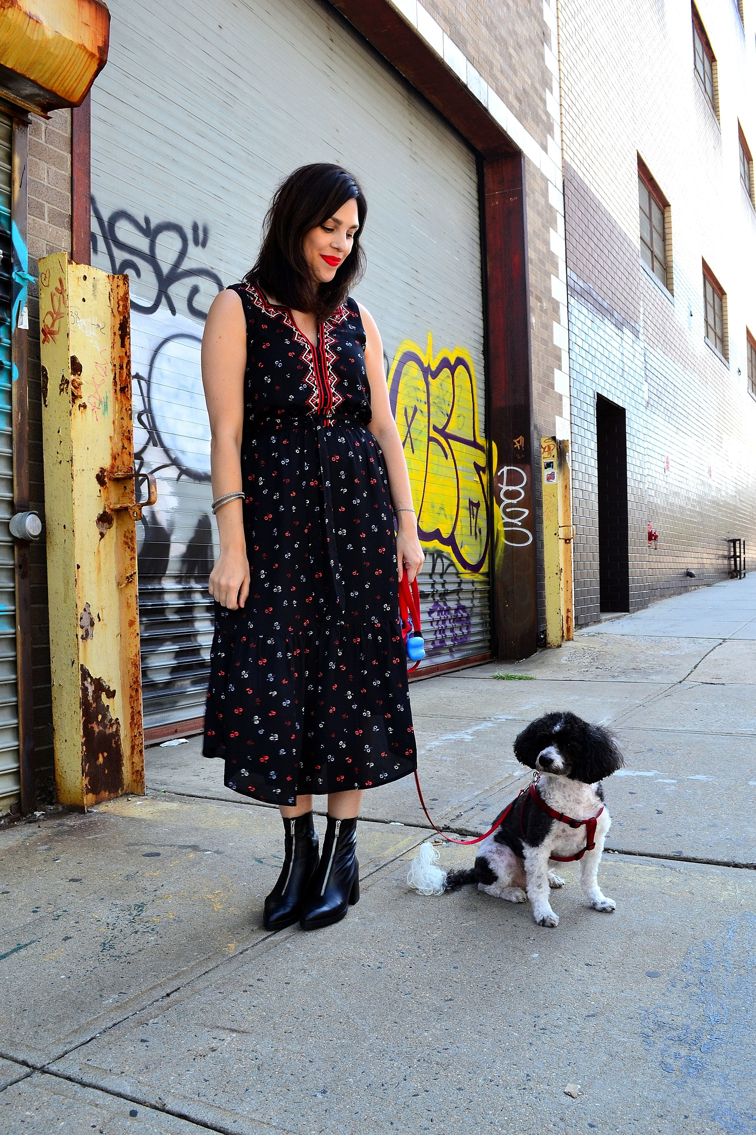 dress: Gap ,  booties: Zara , bracelets: gift