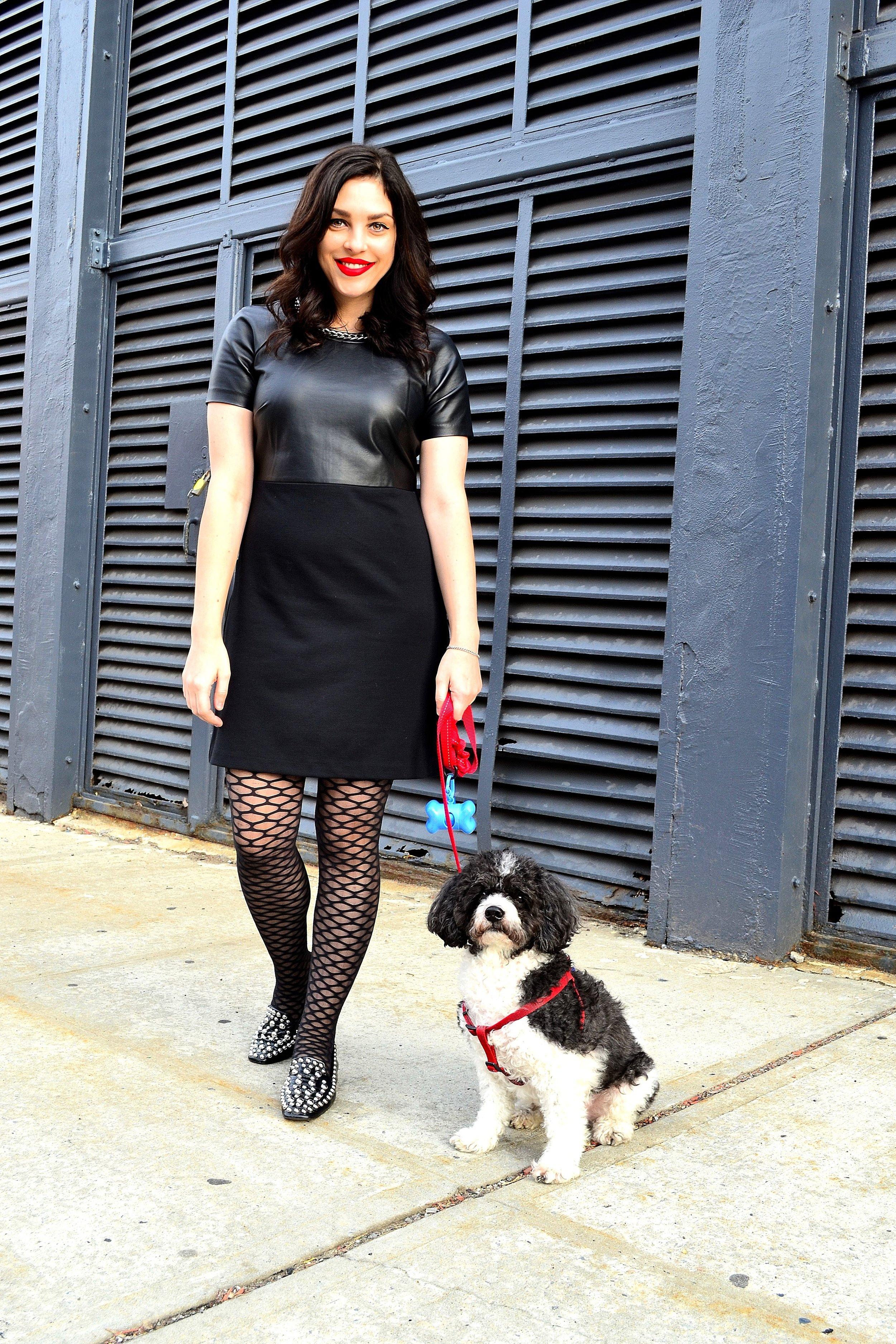 dress- Michael Kors, tights- Express, studded loafers- Zara