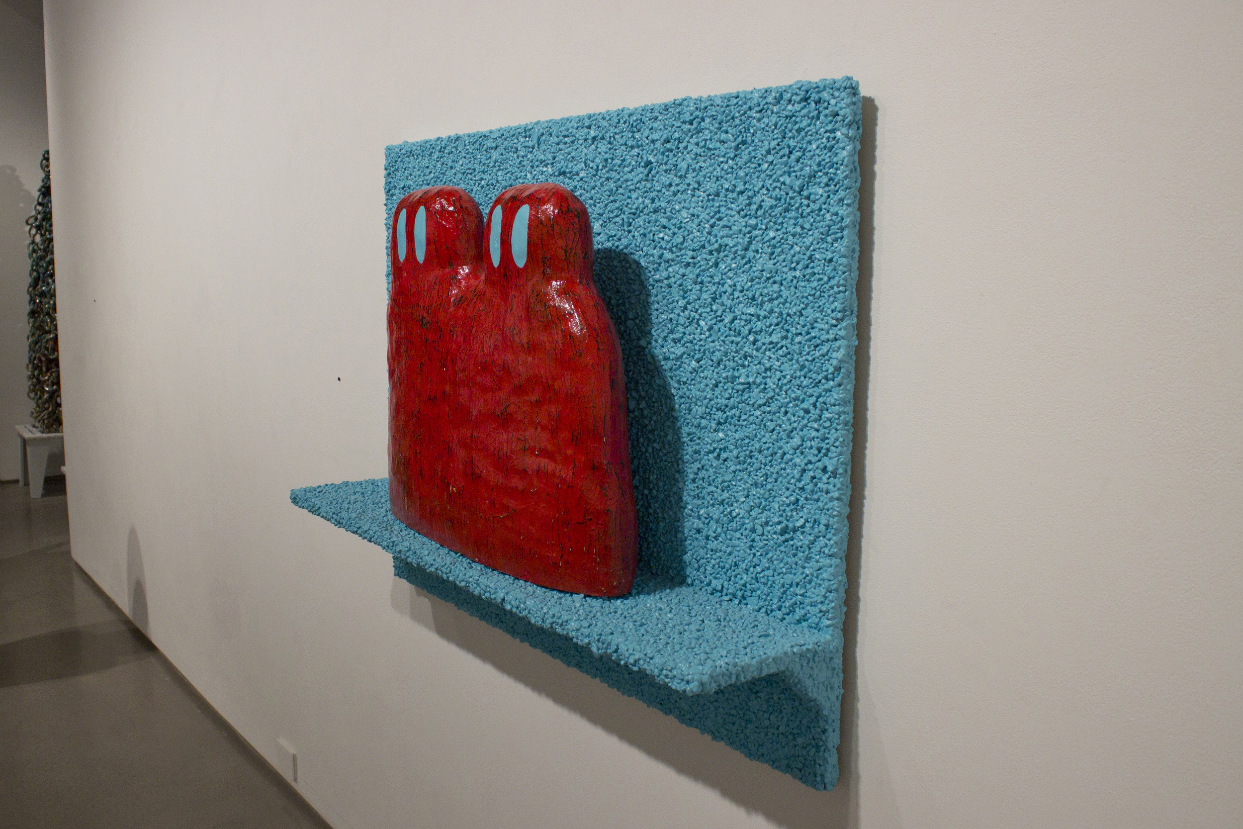 "The Twins  Ceramic, glaze, paint, polyurethane, pea gravel, glue, plywood 35"" x 48"" x 10"" 2015"