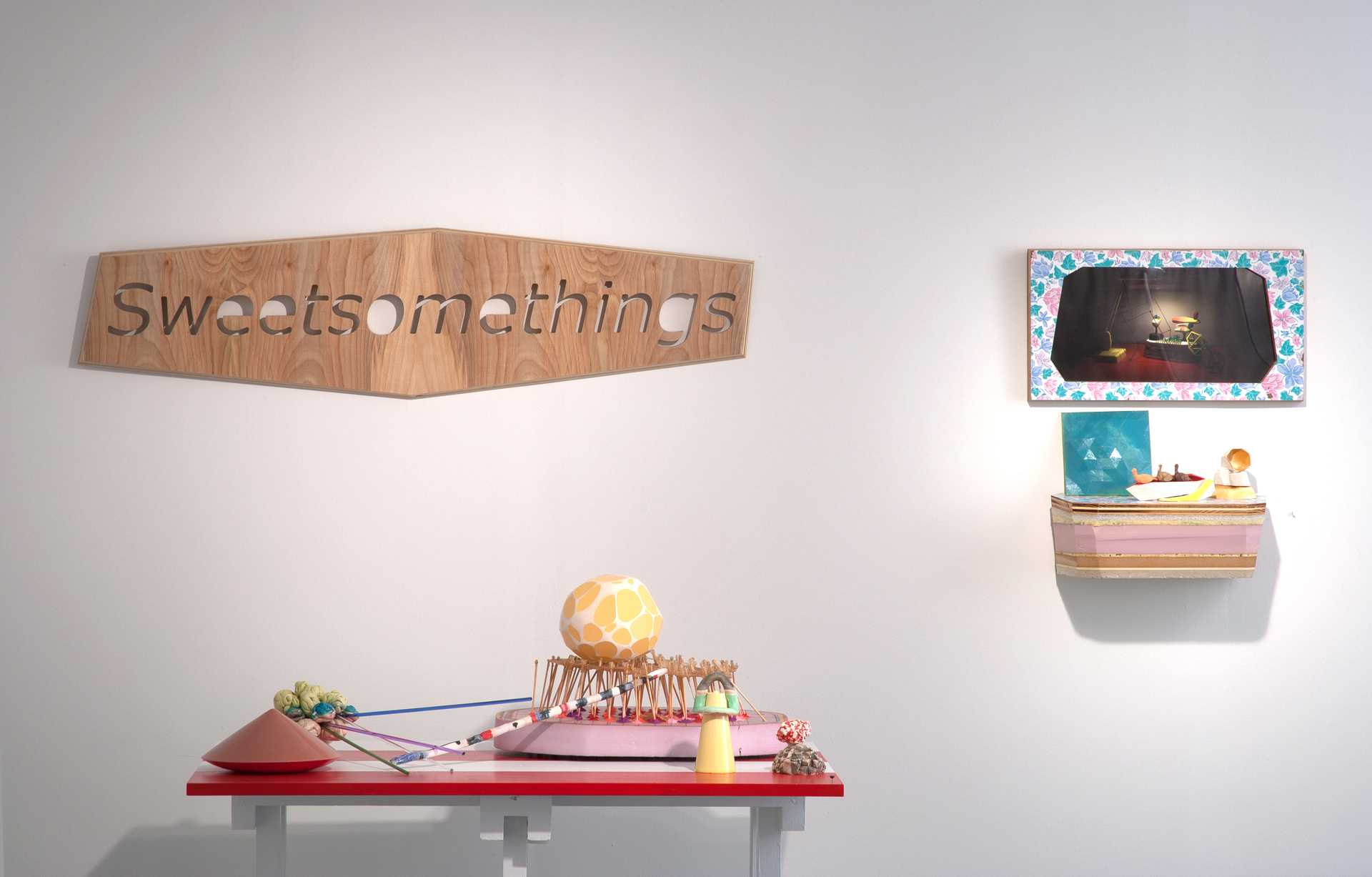Sweetsomethings   Collaboration with Hank Hafkemeyer  Overall view Plywood, Ceramic, glass, oil clay, rock sugar, insulation foam, paint 2012 Photo Credit: E.G. Schempf