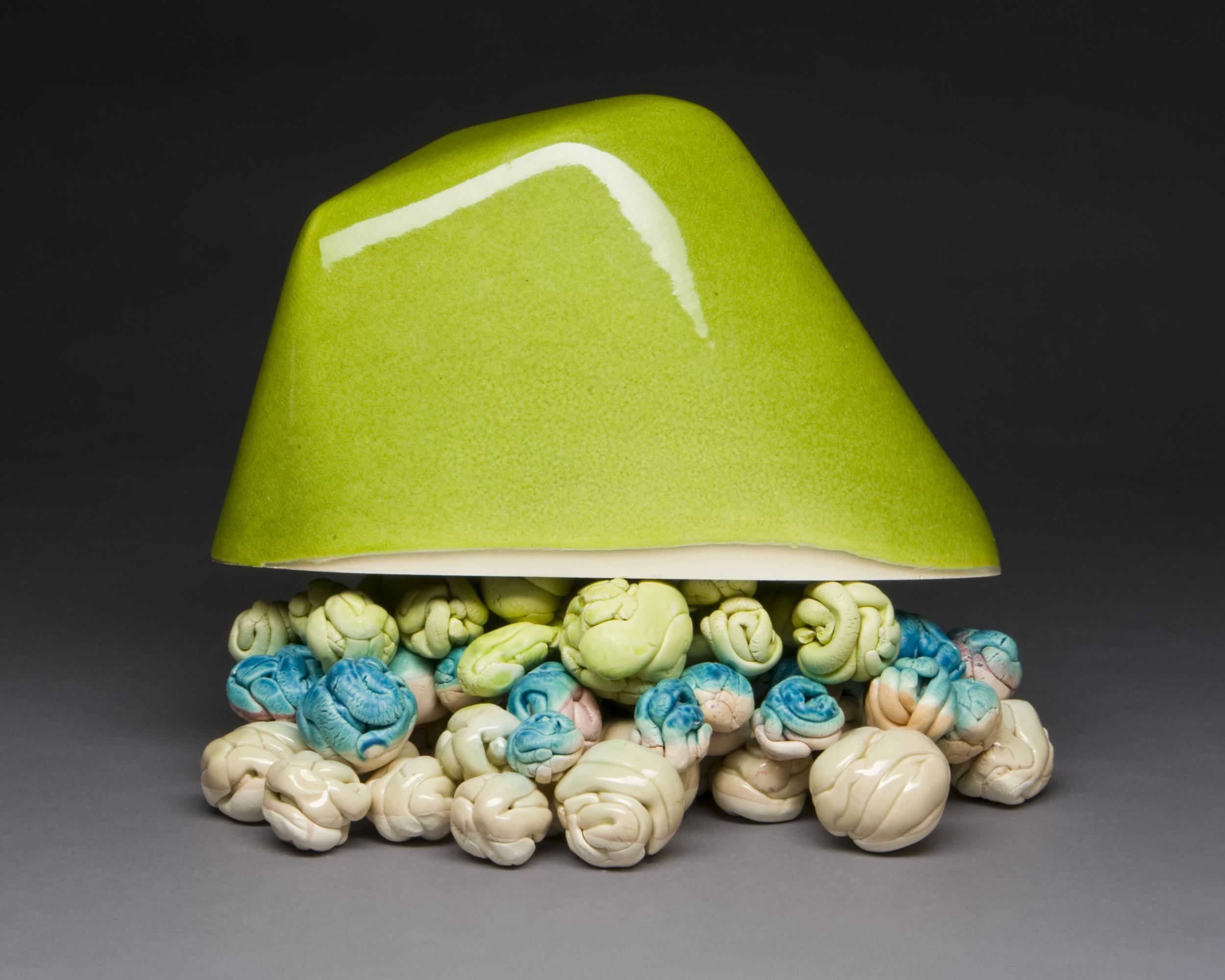 "Sweetsscape Component #3  Porcelain, glass, plaster, stain, wood, MDF, paint, epoxy, pins 12"" x 14"" x 5"" 2011 Photo Credit: Photo Credit: Jim Walker"