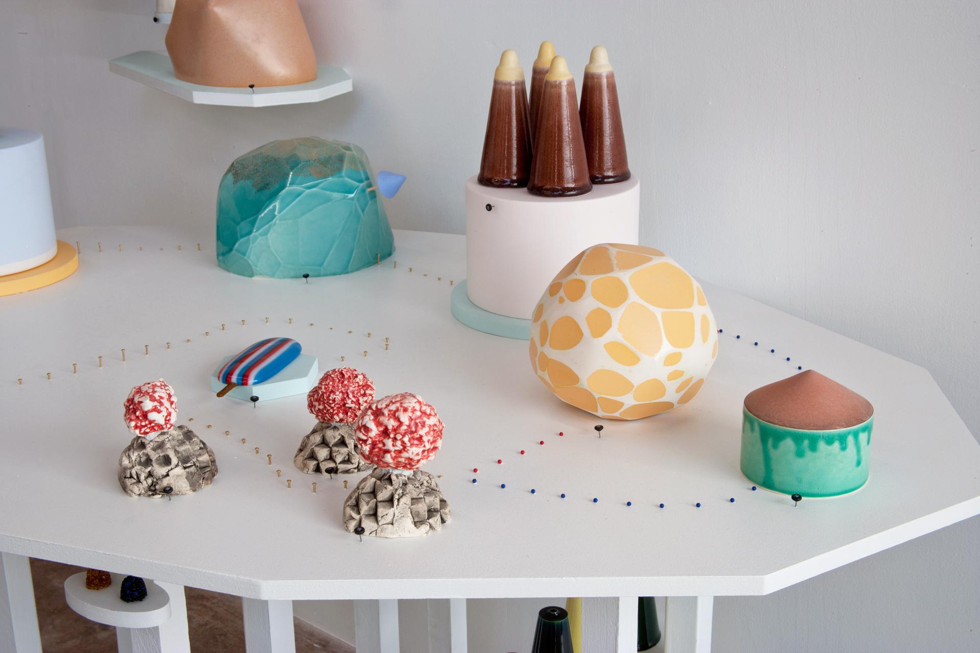Sweetsscape  Porcelain, glass, plaster, stain, wood, MDF, paint, epoxy, pins 2011 Photo Credit: E.G. Schempf