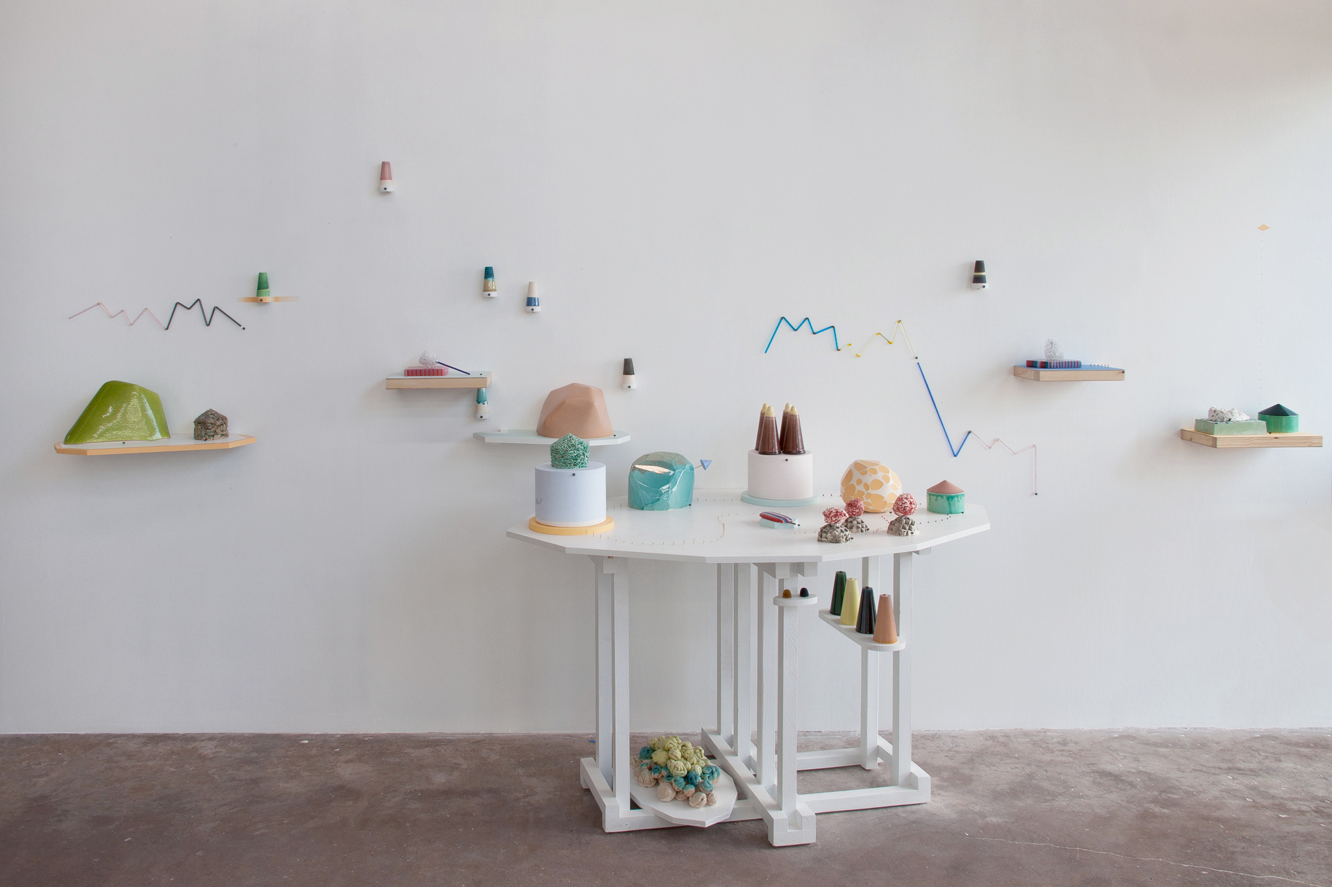 Sweetsscape  Porcelain, glass, plaster, stain, wood, MDF, paint, epoxy, pins 2011