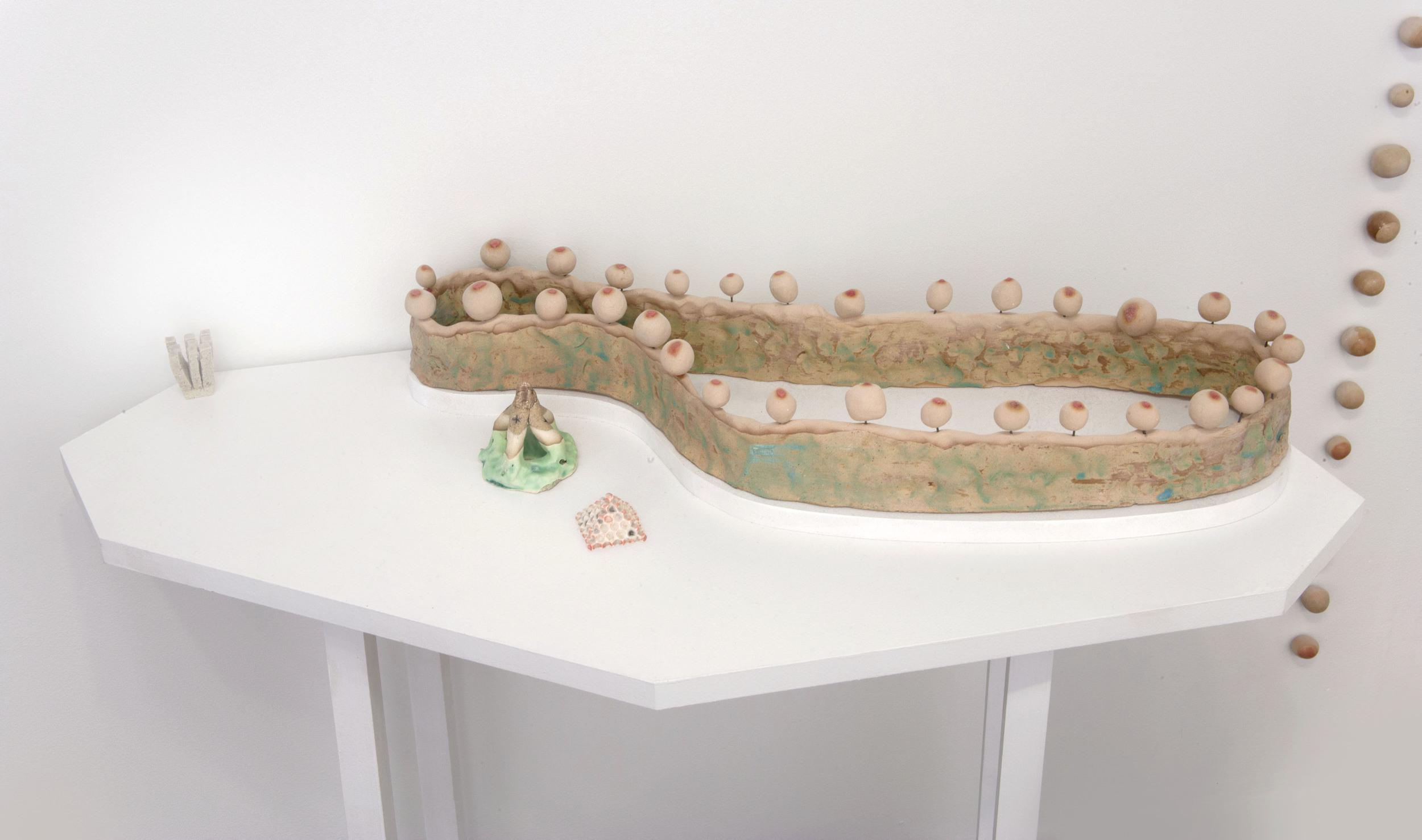 Held Up and Let Loose Ceramic, glaze, MDF, wood  Detail 2012