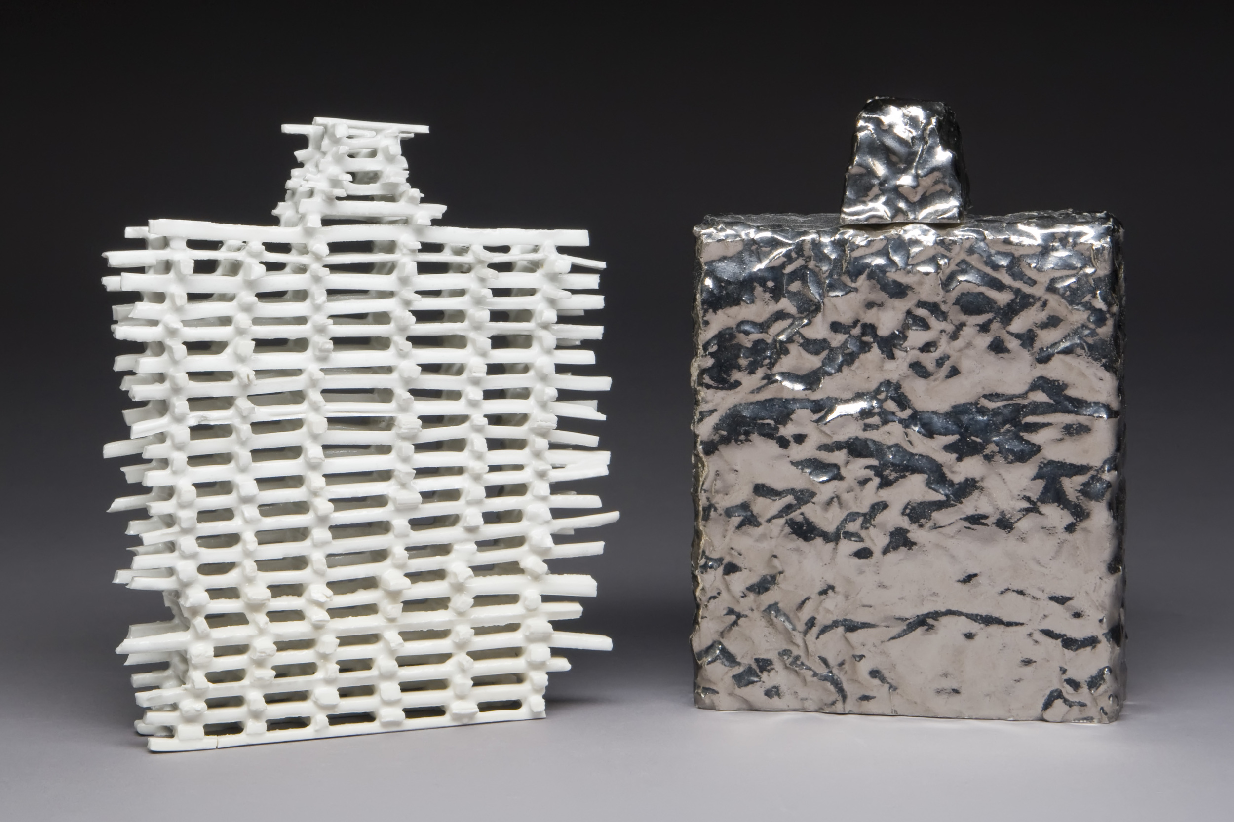 "Tin Foil Flask  Ceramic, silver luster, glaze 7"" x 5"" x 1.5"" 2010 Photo Credit: Jim Walker"