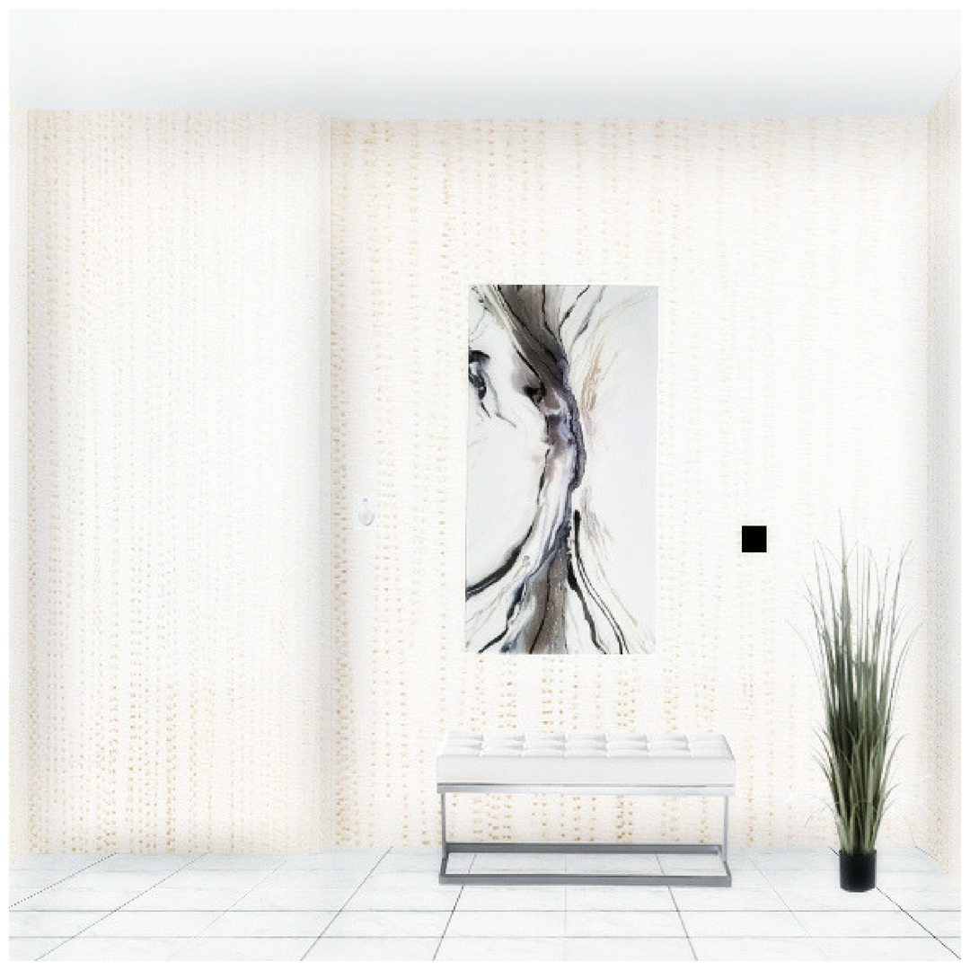 Toronto condo lobby with wallpaper and white leather bench, artificial plant and abstract wall art.jpeg