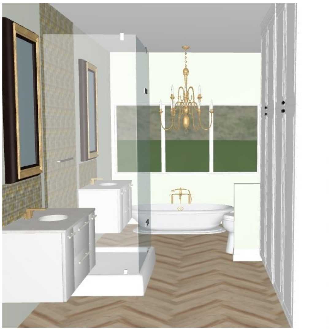 Bathroom design with glass shower and two vanities