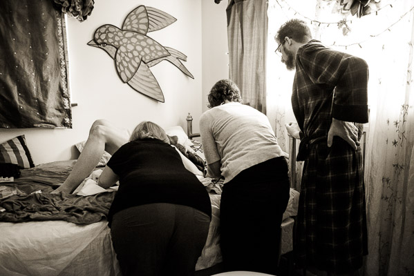 Photo of home birth team at work.