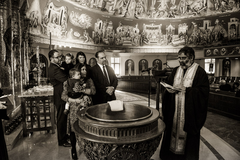 Photo inside Denver's Greek Orthodox Cathedral during a baptism.