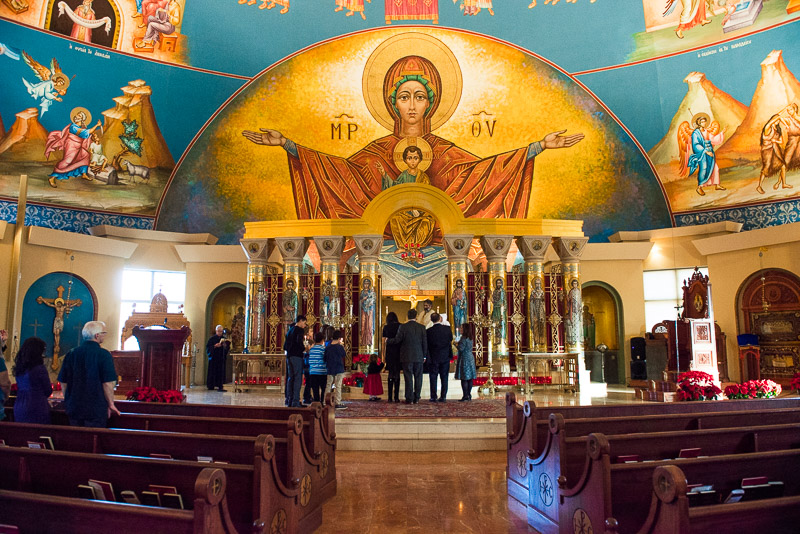 Photo of the alter and ceiling paintings at the Greek Orthodox Cathedral in Glendale Denver Colorado