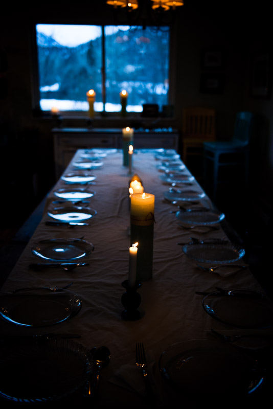 Beautiful color photo of dining table set for dinner.