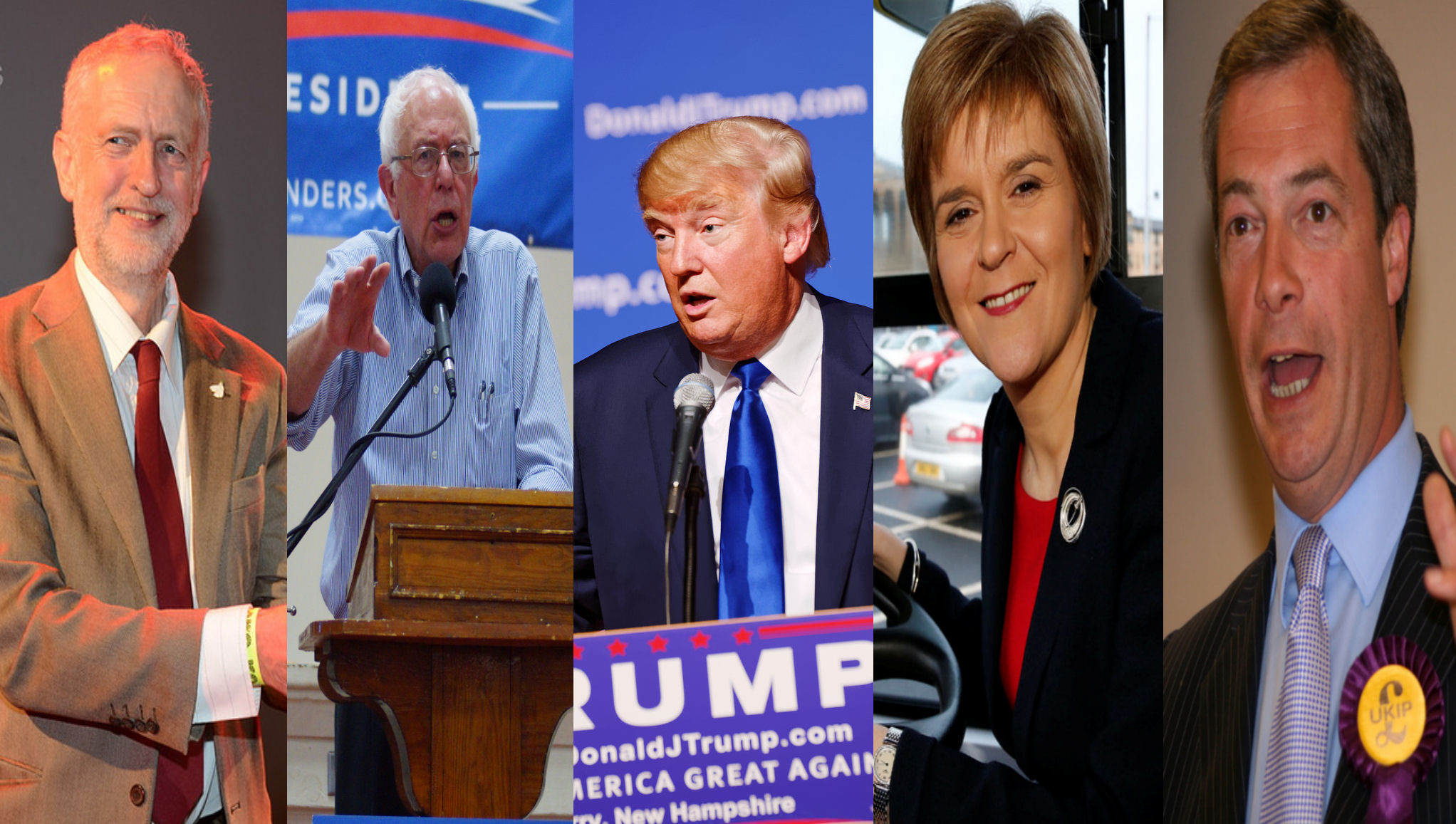 The establishment of British and American politics have been shaken up in recent years by people such as (from left to right) Jeremy Corbyn, Bernie Sanders, Donald Trump, Nicola Sturgeon, and Nigel Farage.  Image Credits: Corbyn:  See Li  via  Flickr , Sanders:  Marc Nozell  via  Flickr   cc , Trump:  Michael Vadon  via  Flickr   cc , Sturgeon:  Ninian Reid  via  Flickr   cc,  Farage:  Euro Realist Newsletter  via  Flickr . Modifications and montage by Wesley Hutchins.