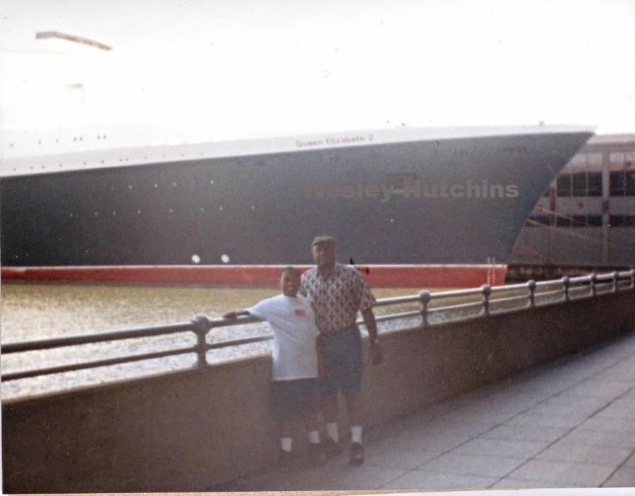 My father and I at the New York City Passenger Ship Terminal with the QE2 in 2001. (Wesley Hutchins)