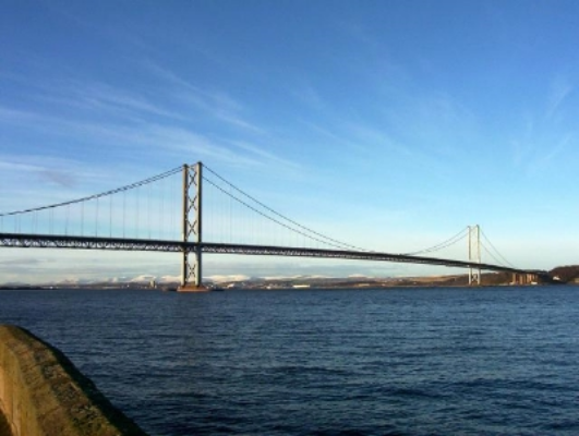 The elegant Forth Road Bridge.  Image Credit : © Copyright  Ian Compton  and licensed for reuse under this  Creative Commons Licence