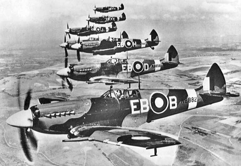 A group of RAF Supermarine Spitfires in World War II. Image Credit:  Public Domain